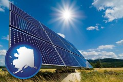 alaska map icon and solar energy panels with photovoltaic cells