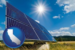 california map icon and solar energy panels with photovoltaic cells