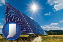 indiana map icon and solar energy panels with photovoltaic cells