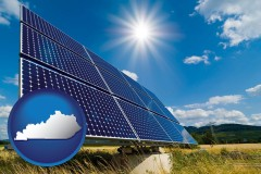 kentucky map icon and solar energy panels with photovoltaic cells