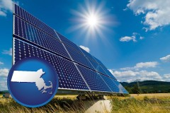 massachusetts map icon and solar energy panels with photovoltaic cells
