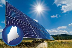 maine map icon and solar energy panels with photovoltaic cells
