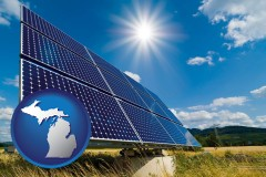 michigan map icon and solar energy panels with photovoltaic cells