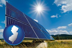new-jersey map icon and solar energy panels with photovoltaic cells