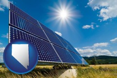 nevada map icon and solar energy panels with photovoltaic cells