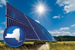 new-york map icon and solar energy panels with photovoltaic cells