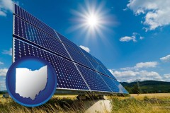 ohio map icon and solar energy panels with photovoltaic cells