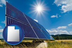 utah map icon and solar energy panels with photovoltaic cells