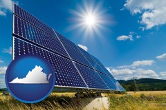 virginia map icon and solar energy panels with photovoltaic cells