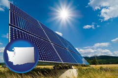 washington map icon and solar energy panels with photovoltaic cells