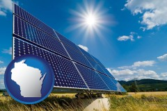 wisconsin map icon and solar energy panels with photovoltaic cells