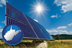 west-virginia map icon and solar energy panels with photovoltaic cells