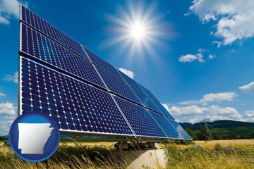 solar energy panels with photovoltaic cells - with Arkansas icon