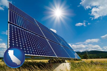 solar energy panels with photovoltaic cells - with California icon
