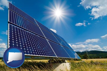 solar energy panels with photovoltaic cells - with Connecticut icon