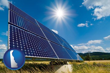 solar energy panels with photovoltaic cells - with Delaware icon