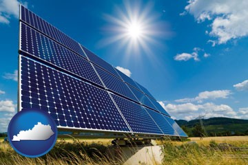 solar energy panels with photovoltaic cells - with Kentucky icon