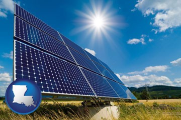 solar energy panels with photovoltaic cells - with Louisiana icon