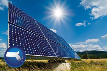 solar energy panels with photovoltaic cells - with Massachusetts icon