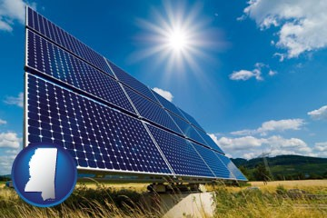 solar energy panels with photovoltaic cells - with Mississippi icon