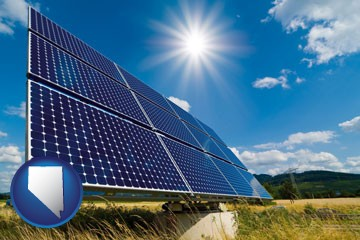 solar energy panels with photovoltaic cells - with Nevada icon