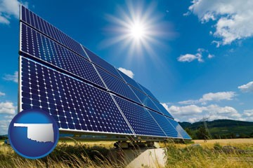 solar energy panels with photovoltaic cells - with Oklahoma icon