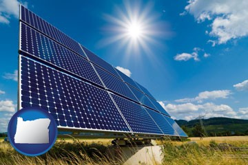 solar energy panels with photovoltaic cells - with Oregon icon