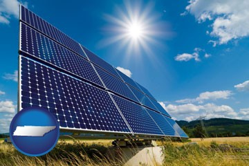 solar energy panels with photovoltaic cells - with Tennessee icon