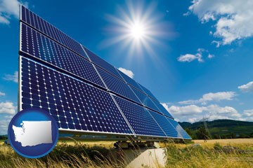 solar energy panels with photovoltaic cells - with Washington icon
